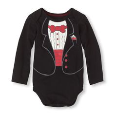 The adorable look of a tux in the comfort of a bodysuit!  simple amazing and elegant for a cute boy  #bigbabybasketsweeps