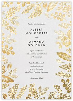 Heather and Lace (Invitation) - White/Gold - Paperless Post / 12 color combinations available / Online and paper options / Wedding invitation suite / Rifle Paper Co