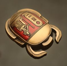 *SOLD OUT* Red/ Antique Gold Egyptian Scarab Geocoin - Geocaching 10mm Thick   eBay