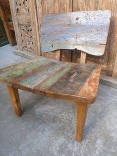 Balinese Recycled Boat Timber Wooden Retro Furniture Dining Low Lazy Chair Seat   eBay