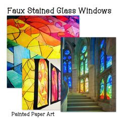 Faux Stained Glass Windows | Painted Paper Art