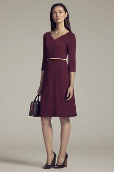 Burgundy three quarter sleeve dress for work