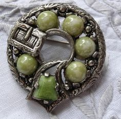 Items similar to CELTIC BUCKLE BROCH by Miracle Co in antique silver tone set with soft green cabochons on Etsy Jewellery Uk, Green Marble, Vintage Jewelry, Unique Jewelry, Garter, Vintage Signs, Celtic, 1970s, Wedding Planning