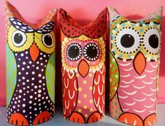 How to make easy owl crafts from toilet paper rolls and other recycled materials. Toilet Paper Roll Art, Rolled Paper Art, Toilet Paper Roll Crafts, Fun Crafts For Kids, Diy For Kids, Paper Towel Rolls, Ideias Diy, Owl Crafts, Cool Art Projects
