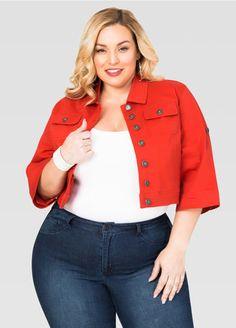 Colored 3/4 Sleeve Jean Jacket Colored 3/4 Sleeve Jean Jacket