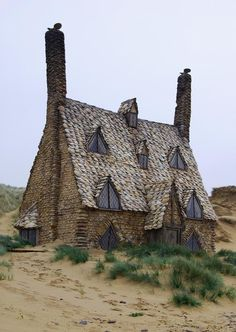 """The Shell cottage constructed on Freshwater West near Castlemartin, Pembrokeshire in West Wales for the filming of part of the Harry Potter film, """"The Deathly Hallows.""""  by Russ Hamer"""