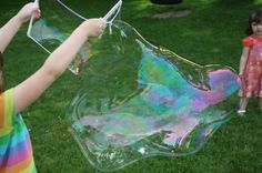 Giant bubbles - dish washing liquid + corn flour + baking POWDER + glycerine; other recipe http://www.designdazzle.com/2011/07/summer-camp-giant-bubbles-kit-tutorial-with-free-printables/ - uses special ingredient for longer lasting bubbles