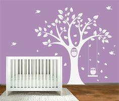 Childrens Tree Decal Vinyl Wall Decals Children Decals with Butterflies,Birds,Swing Owls