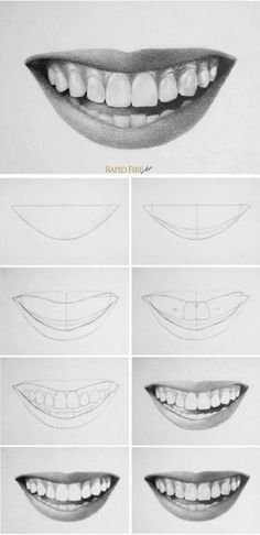 How to draw teeth and lips - 7 easy steps - .- man Zähne und Lippen zeichnet – 7 einfache Schritte – How to draw teeth and lips – 7 easy steps – Teeth Drawing, Smile Drawing, Drawing Faces, Drawing Portraits, Art Drawings Sketches Simple, Pencil Art Drawings, Easy Drawings, People Drawings, Easy Realistic Drawings