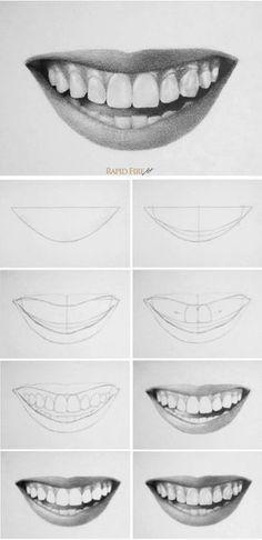 How to draw teeth and lips - 7 easy steps - .- man Zähne und Lippen zeichnet – 7 einfache Schritte – How to draw teeth and lips – 7 easy steps – Cool Art Drawings, Pencil Art Drawings, Art Drawings Sketches, Easy Drawings, People Drawings, Easy Realistic Drawings, Realistic Face Drawing, Realistic Sketch, Outline Drawings