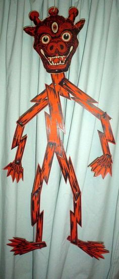 vintage beistle devil goblin wall hanger - Beistle Halloween Decorations