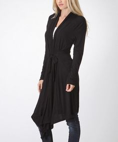 Another great find on #zulily! Black Tie-Waist Duster by Bellino #zulilyfinds