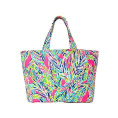 Lilly Pulitzer Beach Tote Bag - Palm Reader ($68) ❤ liked on Polyvore featuring bags, handbags, tote bags, lilly pulitzer tote, white purse, white canvas tote, handbags totes and white handbags