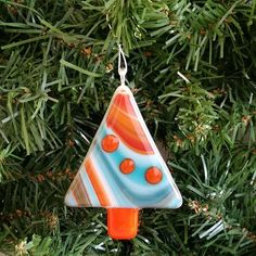 Fused Glass Chrismas Tree Ornament by FiredEffects on Etsy