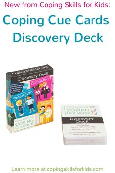 New from Coping Skills for Kids - the Coping Cue Cards Discovery Deck. This deck helps bring order to the mountain of coping strategies that work for kids. It's sorted into 5 Coping Styles: Relaxation, Distraction, Movement, Processing, and Sensory. Group Therapy Activities, Self Esteem Activities, Feelings Activities, Counseling Activities, Therapy Games, Coping Strategies For Stress, Anxiety Coping Skills, Coping With Stress, Elementary School Counseling