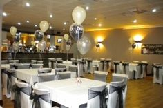 Black & White 50th Birthday, Chair Covers & Balloons, Riverside Club Chesterfield from A. S. PARTY   Photo 6