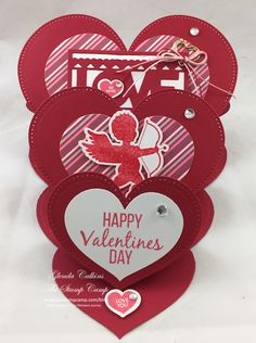 Triple Heart Easel Card with Fun Stampers Journey! Video and list of products to purchase is on the blog: www.thestampcamp.com