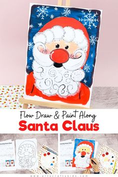 Flow Drawing: How to Paint Santa Claus - A fun and simple Christmas drawing tutorial for kids to follow. Children will learn how to use natural flowing lines to form their favorite Christmas Character - Santa! Optional printable downloads include a How to Draw Santa Tutorial and a completed Santa Clause template to simple paint. Christmas Crafts for Kids Santa Claus | Easy Drawings for Kids | Flow Art for Kids | Art Ideas for kids | Santa Crafts for Kids | Christmas Art Projects for Kids