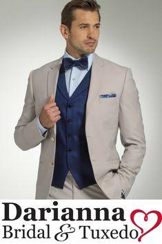 Michael Kors Tahiti suit with navy tweed vest.