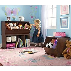 Just like this!!! It would match her room perfectly!!!  Stacking Toy Storage System, Wood Potato Bins, Toy Box, Bookshelf