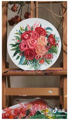 Easy Canvas Art, Small Canvas Art, Canvas Painting Tutorials, Diy Painting, Painting Abstract, Roses Painting Acrylic, 3d Painting On Canvas, Clock Painting, Acrylic Artwork