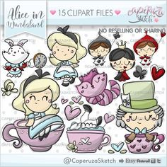 Alice in Wonderland Clipart, Alice in Wonderland Graphics, Alice Clipart, Cheshire Cat Clipart, COMM Rabbit Clipart, Cat Clipart, Planner Stickers, Christmas Graphics, Christmas Clipart, Alice In Wonderland Clipart, Doodles, Clip Art, Christmas Frames