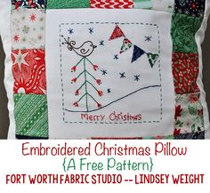 Fort Worth Fabric Studio: Embroidered Christmas Pillow Tutorial
