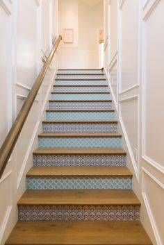 fun stairs - House of Turquoise: Dream Home Tour - Day Four Dream Home Design, House Design, Palladian Blue, House Of Turquoise, Turquoise Kitchen, House Stairs, Random House, Fireplace Surrounds, House Rooms