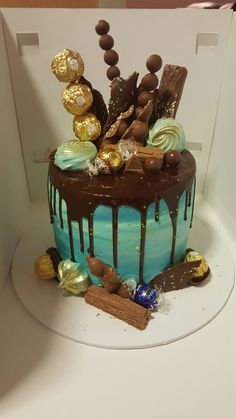 Chocolate drip cake , blue and gold theme.