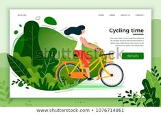 Vector illustration - bicycle riding girl. Park, forest, trees and hills on background. Banner, site, poster template with place for your text.