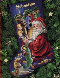 Solo Patrones Punto Cruz Twas the Night Before Christmas Stocking Santa Cross Stitch, Cross Stitch Christmas Stockings, Cross Stitch Stocking, Christmas Stocking Pattern, Santa Stocking, Free Cross Stitch Charts, Cross Stitch Patterns, Free Charts, Embroidery Stitches
