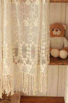 Lace Fabric Cotton embroidered Curtain with Off White by zoeypetal, $11.99