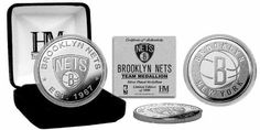 Brooklyn Nets Silver Coin by Highland Mint. $19.95. This Limited Edition Silver Plated Coin is individually numbered on the edge and measures 39mm in diameter. Each coin is protected in an acrylic capsule to preserve its proof like condition and delivered in a black velour jewel box as well as accompanied by a Certificate of Authenticity. A Limited Edition of only 5,000 and Officially Licensed by the NBA. Proudly Made in the U.S.A.!