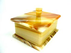 Alabaster Trinket Box or Jewelry Box Vintage by ChromaticWit, $34.99