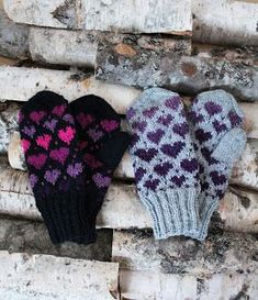 Ravelry: Valentine Mittens pattern by Milla H. Knitted Mittens Pattern, Knit Mittens, Knitted Gloves, Knitting Patterns Free, Free Knitting, Crochet Patterns, Free Pattern, Fingerless Mitts, Wrist Warmers