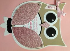 DIY Girl Owl Baby Shower Invites. Time consuming but so cute.We made a few changes after buying the template from ZooCutiePrintables on Etsy. Love the way they turned out!