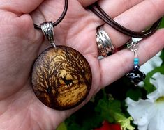 Stag in the Moonlight Pyrography Pendant Necklace