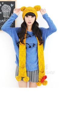 YESSTYLE: 59 Seconds- Musical Notes Print Long Knit Top
