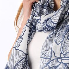 Ladies' Blue abstract floral print scarf, by Style Slice, features stylish flower print and contrasting tassels. Elegant spring or summer shawl that can be personalised with a charm or a monogram. Suitable as a gift for anniversary, birthday or any day in which to tell the woman in your life, be it a Mum, Wife, Sister or Girlfriend, that she is special. #scarf #shawl #wrap #scarves #fashion #vintage #handmade #acessories #etsy #gift #tropical #flower #headwrap #ootd #personalized