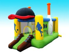 Inflatable Bounce House Bouncer All Sports by Bounceland. $399.00. Includes Basketball hoop,Velcro Volleyball net,30 plastic balls,Four velcro dart game balls. Commercial 0.7 HP blower with 25 ft power cord with GFCI plug. Includes Ground stakes pack,Large carrying bag,Large carrying bag. L 14.5 ft x W 8 ft x H 9.2 ft bounce house.. Huge inflated size L 14.5 ft x W 8 ft x H 9.2 ft.  Powered by strong UL blower (included).  Heavy-duty puncture proof materials wit...