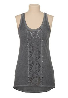 High-Low Lace and Stud Burnwash Tank