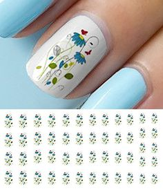 Blue Flowers Red Erfly Nail Art Waterslide Decals Salon Quality Check Out The Image