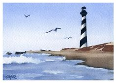 Cape Hatteras Lighthouse - Watercolor Painting - Art Print - Signed by Artist DJ Rogers - Wall Decor