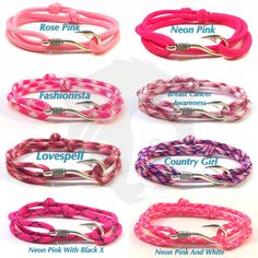 Updated the pink Paracord Fish Hook Bracelets with better photos and added 3 extra to the set for a total of 8.  #papabearshouse #paracord #paracordbracelet #fish #fishhook #fishhookbracelet #pink #neonpink #fashionista #lovespell #breastcancerawareness #breastcancer #country #countrygirl #rose