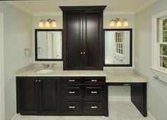 MASTER Bathroom Vanity With Makeup Area Design, Pictures, Remodel, Decor  And Ideas