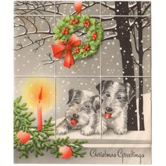 Vintage 1940s Christmas Card Scotty Dogs Looking in the Window Wreath and Lit Candle