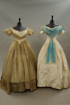 Two 1840s dresses.  They appear to be the same pattern done two ways.
