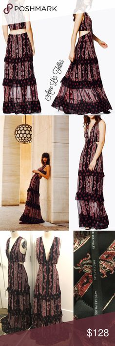 """AVEC LES FILLES paisley print maxi dress AVEC LES FILLES paisley print maxi dress, gorgeous design with tiered ruffles, skirt approx 44"""" long laying flat.  Excellent like new condition.  Get it before it's gone!  cr3/25 Avec Les Filles Dresses Maxi"""