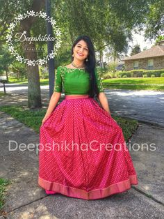 Our beautiful bride to be in DeepshikhaCreations for her Mehendi ceremony :) 04 August 2016 29 November 2016 Half Saree Designs, Lehenga Designs, Blouse Designs, Dress Designs, Anarkali Dress, Lehenga Gown, Lehenga Blouse, Indian Attire, Indian Outfits