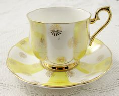 Royal Albert Tea Cup and Saucer with Yellow Stripes, Vintage Bone China, HC Hd Vintage, Vintage China, Vintage Tea, Royal Albert, Cup And Saucer Set, Tea Cup Saucer, Teapots And Cups, Teacups, China Tea Cups
